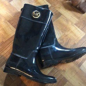 Michael Kors black with gold rain boots